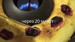 "Манник со сливами. Приготовлено на сковороде ""Гриль-газ""."