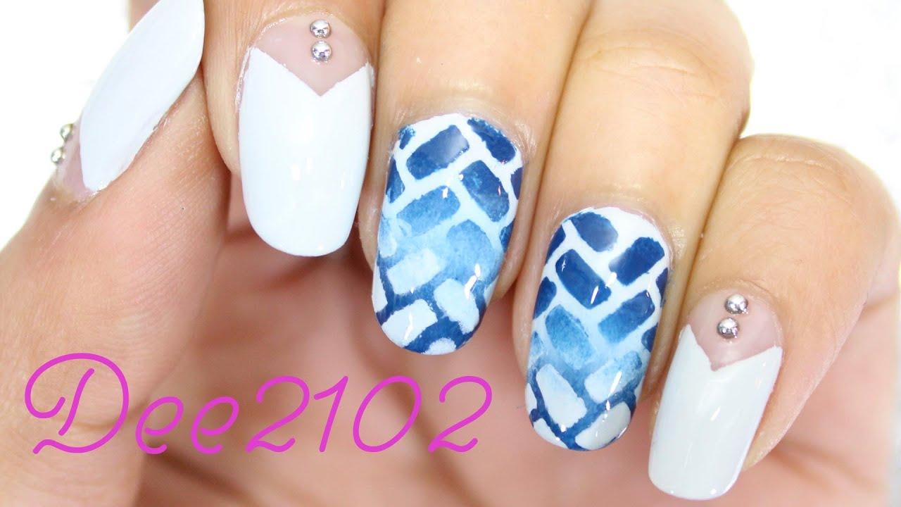 Ombre Herringbone Nail Art Dee2102 Youtube