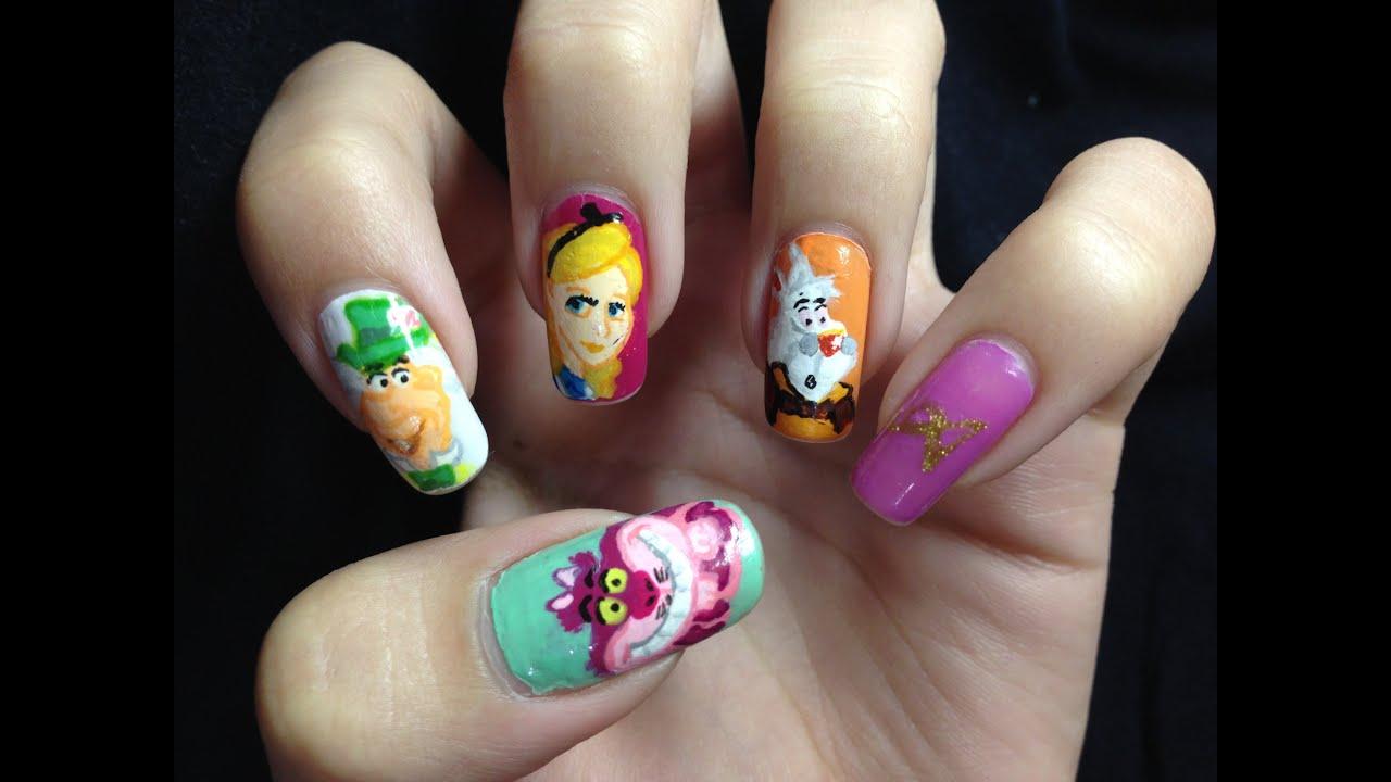 nail art alice in wonderland youtube