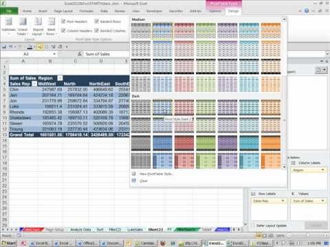 Office 2010 Class #36: Excel PivotTables Pivot Tables 15 examples (Data Analysis)