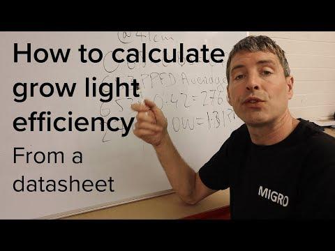 Calculate grow light efficiency from a data sheet