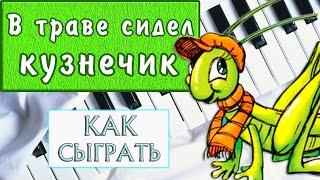 ЛЕГКАЯ ПЕСНЯ НА ПИАНИНО для начинающих В траве сидел кузнечик Урок для детей на фортепиано