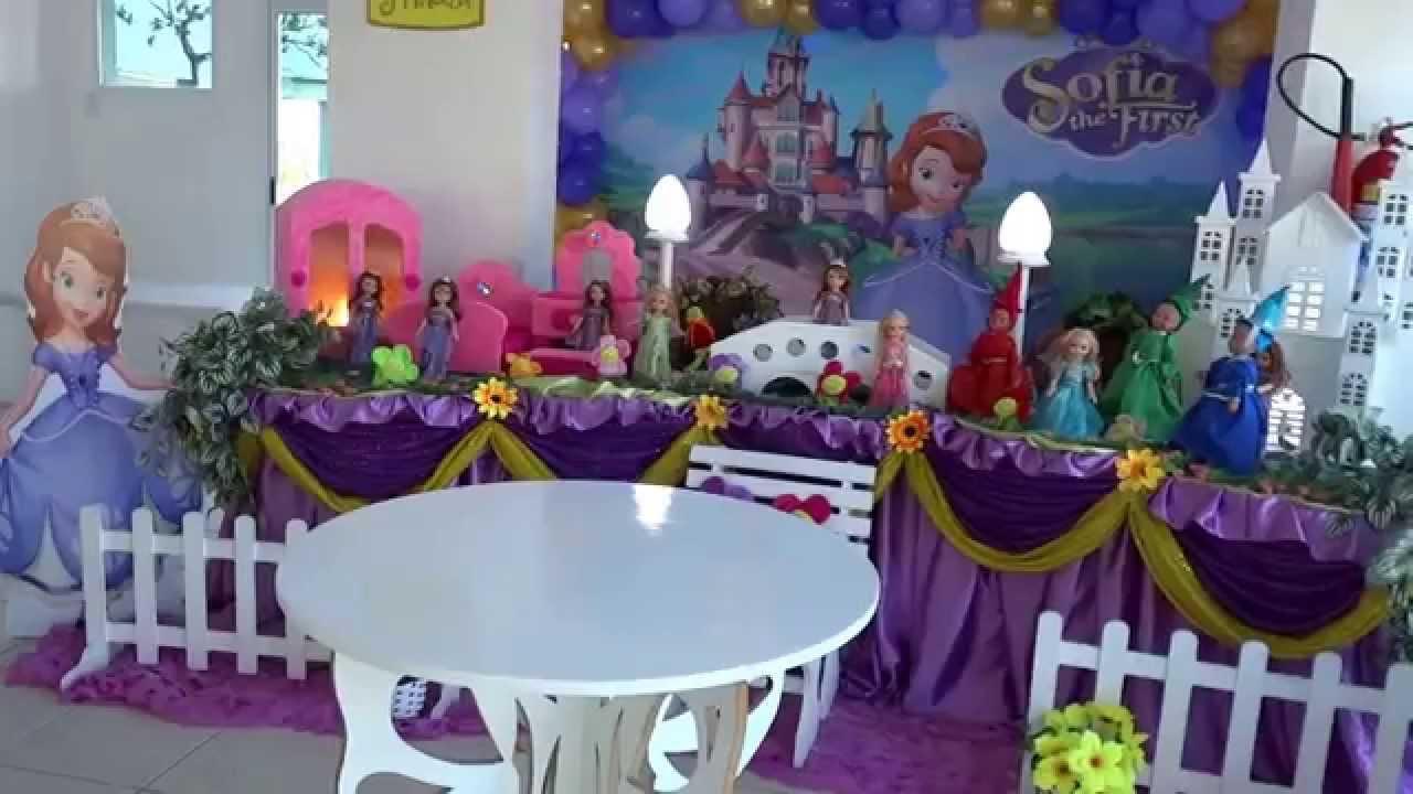 Princesa Sofia Decoraç u00e3o de festa infantil YouTube -> Decoração De Aniversário Princesa Sofia