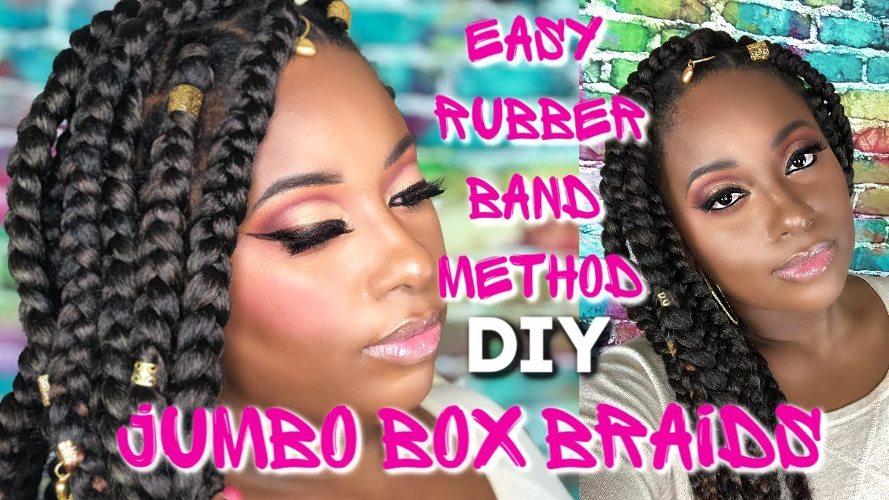 Jumbo Box Braids Rubber Band Method Natural Hairstyles