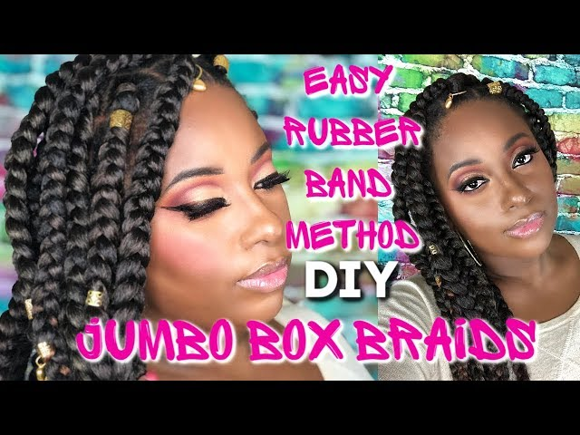 Easy Rubberband Method Jumbo box braids on 4c Natural Hair Care || Vicariously Me