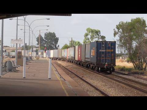 freight train passing through port augusta station