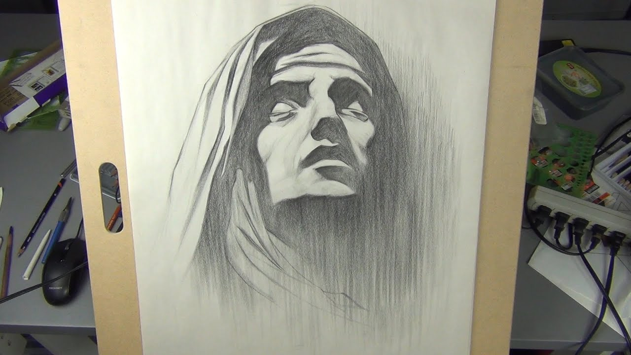 Drawing the Virgin Mary - Charcoal Portrait Drawing - YouTube