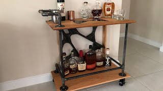 DIY Bar Cart made with Iron Pipe and Red Oak - Halloween Inspired
