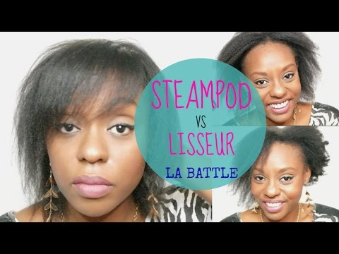 afro hair steampod vs lisseur cheveux cr pus fins youtube. Black Bedroom Furniture Sets. Home Design Ideas