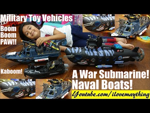 Military Toy Soldiers. Attack Submarine, Naval Ship Destroyer and Naval Boats Toy Playtime Fun!