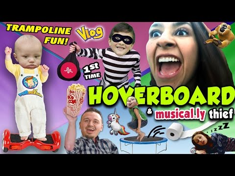 HOVERBOARD 1st TIMER w/ Mom & Uncle Crusher / Trampoline Fun / Musical.ly Thief (FUNnel Vision Vlog)