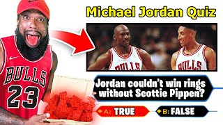 Michael Jordan Basketball Quiz! Every Question I Miss I Eat Worlds Hottest Wings!