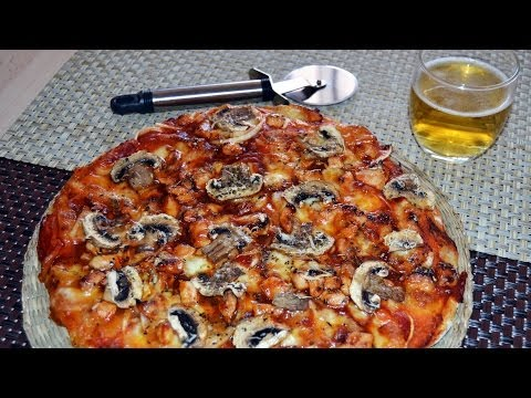 Easy Homemade Barbecue Chicken & Mushroom Pizza Recipe