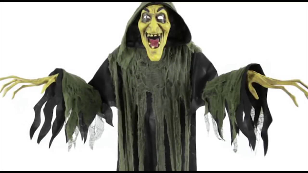 Hanging Witch Animated Halloween Prop Lifesize 6 FT Haunted House ...