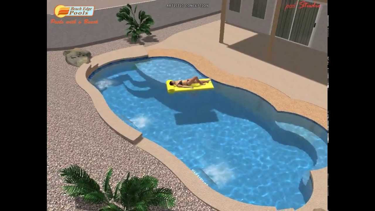Swimming pool design with beach like entry youtube Beach entry swimming pool designs