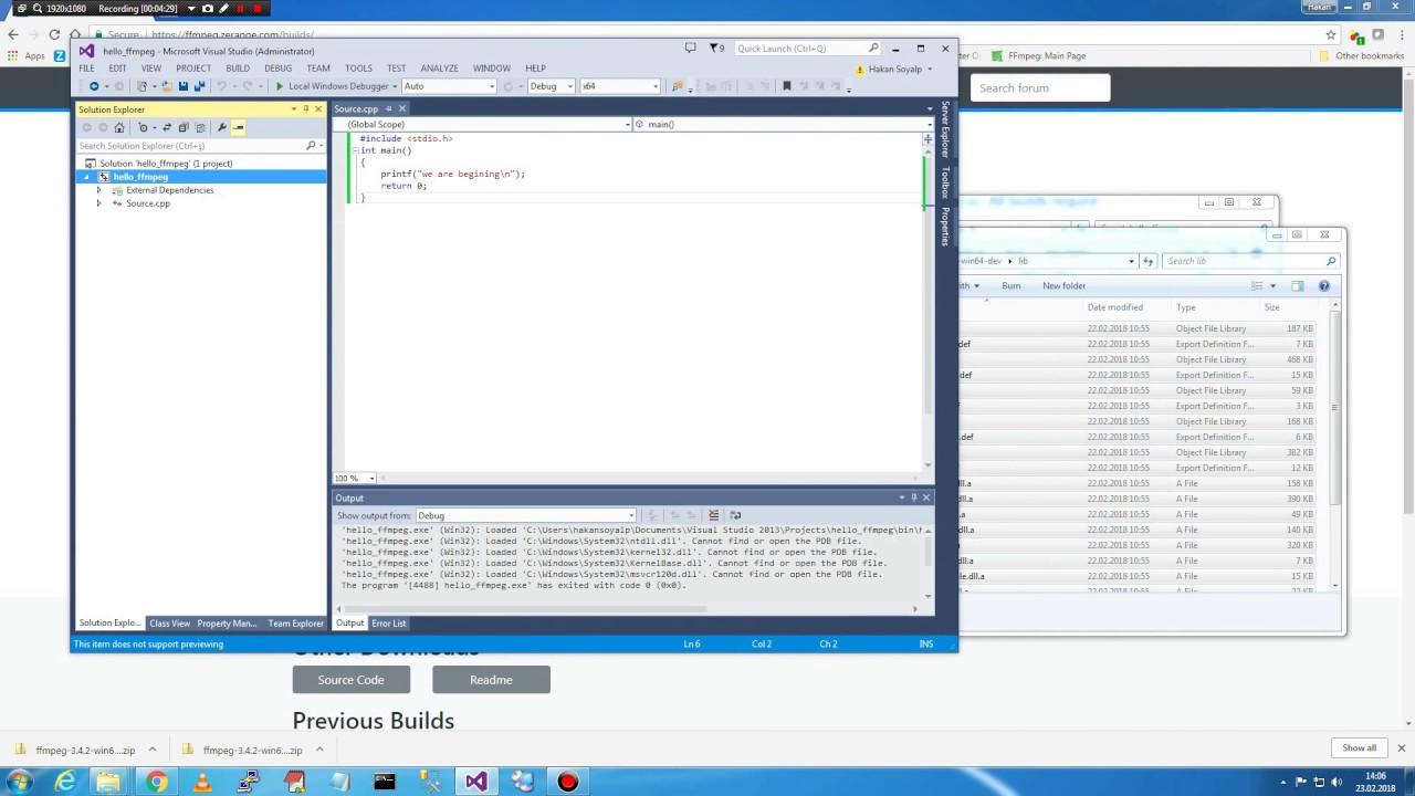 ffmpeg 01 configure visual studio