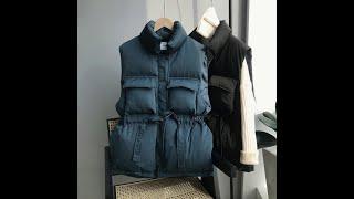 Женская хлопковая куртка пуховик свободная утепленная в корейском стиле с короткими и длинными