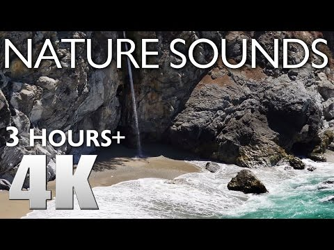 3 HOURS RELAXATION #1 Big Sur Nature Sounds - Ocean Waves & Watefalls - McWay Falls 4K