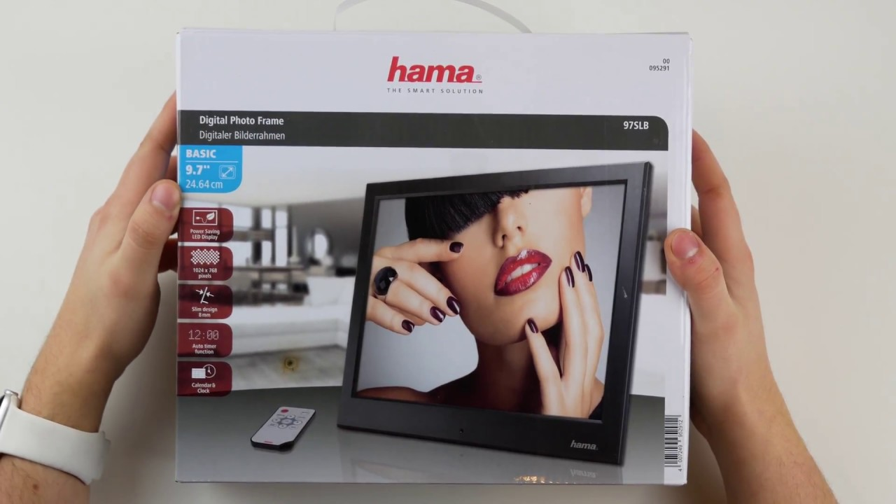 HAMA 97SLB Digitaler Bilderrahmen Unboxing + kurzer Test - YouTube