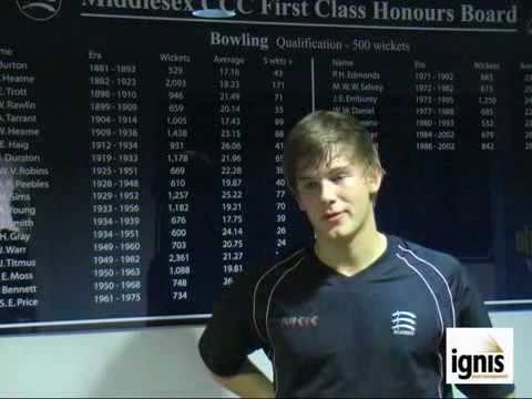 Tom Hampton, 2010 Middlesex CCC academy player interview