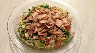 How To Make Fattoush Lebanese Recipe -  تحضير الفتوش على الطريقة اللبنانية