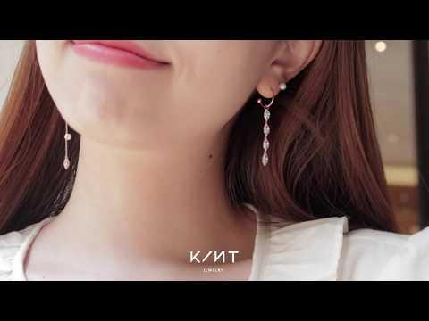 KINT_14K/18K 마퀴즈컷 스톤 포인트 귀걸이 참, 유니크 포인트 드롭 귀걸이 참