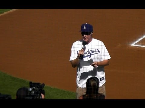 Will Ferrell Gives Dodgers Starting Lineup NLCS Game 5 Dodger Stadium 10-16-2013