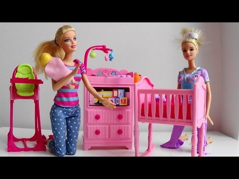 Thumbnail: Barbie Doll Baby Sitter calls Disney Princess phone Barbie Puppy Tuffy help Barbie Doctor car toy