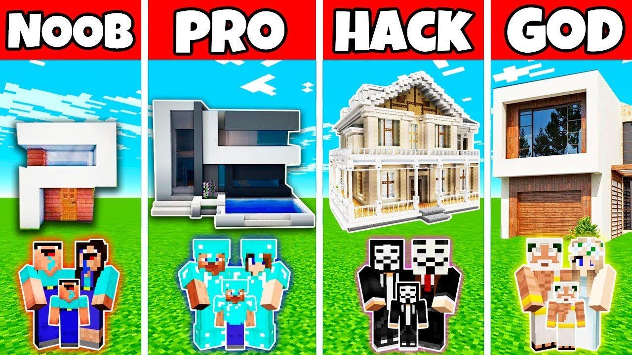 Download Minecraft: FAMILY MODERN HOUSE BUILD CHALLENGE - NOOB vs PRO vs HACKER vs GOD in Minecraft