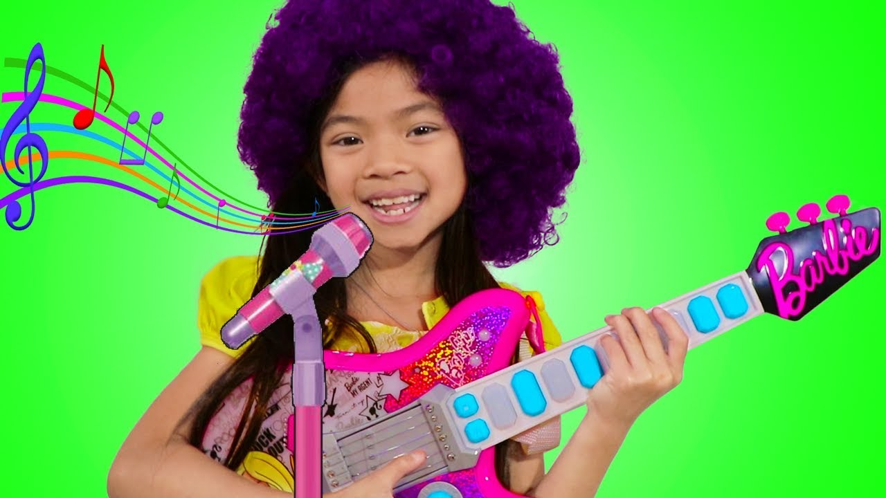 Emma Pretend Play as Musician w/ Barbie Guitar Toy for Kids Got Talent Show
