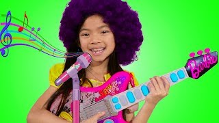 Emma Pretend Play as Musician w/ Barbie Guitar Toy for Kids Got Talent Show