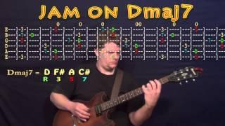 guitar jam lesson - d major - dmaj7 - d f# a c# - jamtrack - m.m.=60