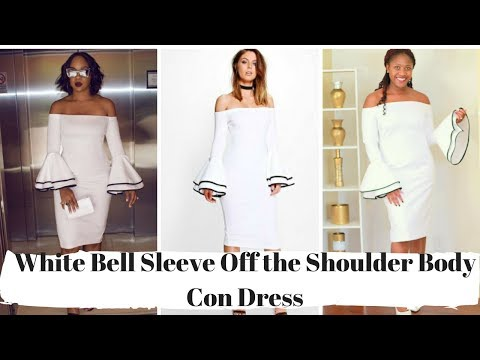 how-to-sew-a-white-bell-sleeve-off-the-shoulder-bodycon-dress