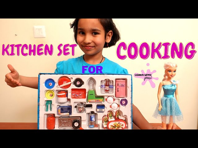 Kitchen set unboxing  | Cooking Game in Hindi | Mini Utensils Indian Kitchen Set | LearnWithPari