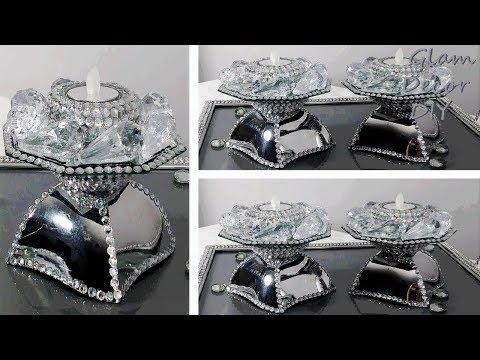 Dollar Tree DIY Glam Mirror Crystal Pendant Candle Holders