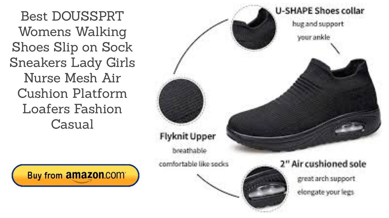 Women/'s Walking Shoes Sock Sneakers Mesh Slip On Air Cushion Lady Girls Mod...