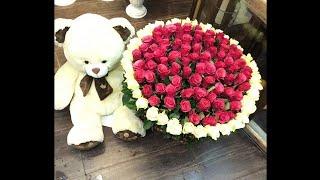 Подарил Жене огромный букет цветов на День рождения!