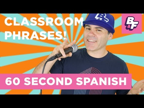 Learn Spanish Class Vocabulary with BASHO & FRIENDS - 60 Second Spanish - Classroom Phrases
