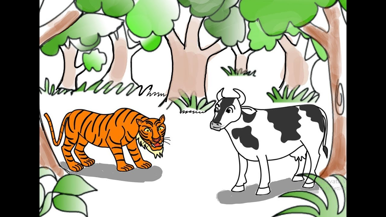 Aavu Puli | Cow and Tiger Story in Telugu |ఆవు పులి | Moral Story | Bommala  Kathalu_02