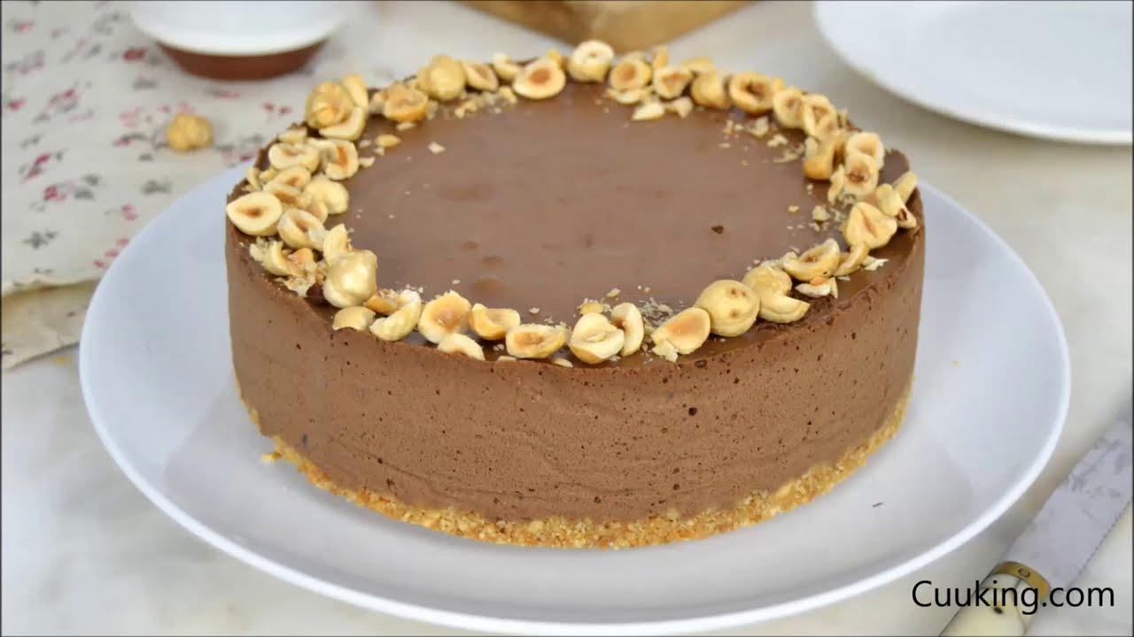 Tarta fría de chocolate con avellanas ¡Sin horno!