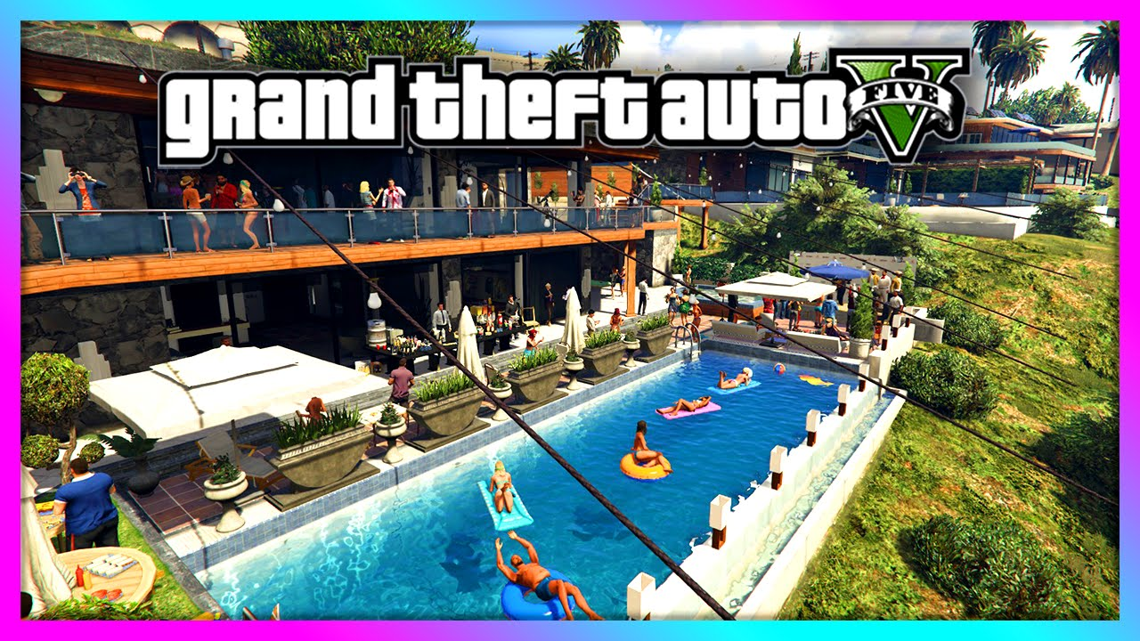 Gta 5  House Party At Franklin's!  Hundreds Of People, Huge Party! (gta  V)  Youtube