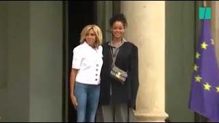 Rihanna accueillie à l'Élysée par Brigitte Macron