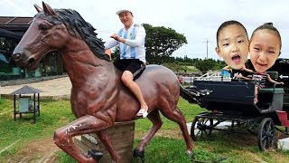 LoveStar had fun car racing & riding horse at the jeju island