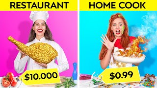 RICH VS POOR STUDENT || Eating a $10,000 Golden Steak! Expensive VS Cheap Food by 123GO! CHALLENGE