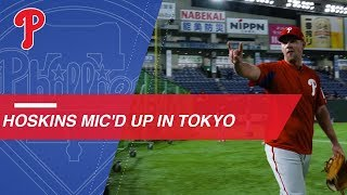 Rhys Hoskins mic'd up for batting practice in Tokyo