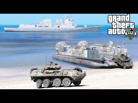 GTA 5 Mods - US Navy LCAC Hovercraft Beach Landing - Transporting Marine Vehicles From Ship To Shore