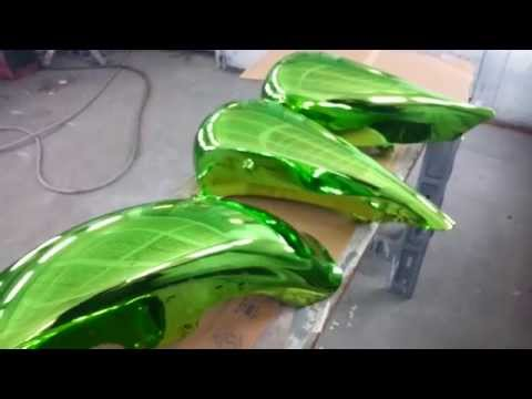 Lime Green Spray Chromed Harley Body Work