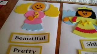 Christmas - Alphabet Advent Calendar, letter A: Match Angel Adjective words. Angel foam figures.