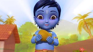 Chinni Krishna - Little Krishna & Fruit Seller | Telugu Rhymes for Children | Infobells
