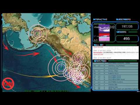 7/12/2017 -- Direct Earthquake Forecast hit while on live stream -- Large M6.7 strikes W. Pacific
